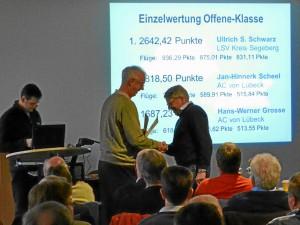 Ullrich gewinnt erneut die Einzelwertung der Offene Klasse und Offene/18m KLasse International mit 2642 Punkten. Auch die Einzelwertung der Landesliga SH konnte er für sich entscheiden.