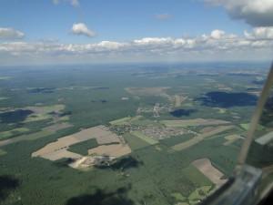 27.8.2014:Der letzte Super-Thermiktag des Jahres über der südlichen Lüneburger Heide. Hier der Blick von Süden auf die Flugplätze Scheuen und Celle Arloh.