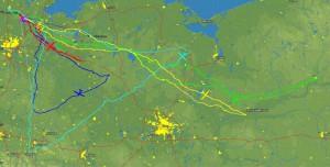 3.5.2014: Flugspuren - Ein besonders erfolgreicher Streckentag für die LSV Piloten.