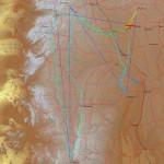 Der Flugweg, 960 Kilometer über Namibia