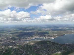 15.4.2014, ein guter Tag zum Einwackeln - Flensburg auf dem Weg nach Dänemark, gute Wolkenentwicklung soweit das Auge reicht.