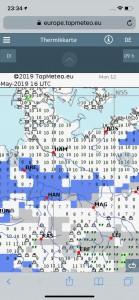 Thermik und Wolkenprognose für 9:00 Uhr Ortszeit